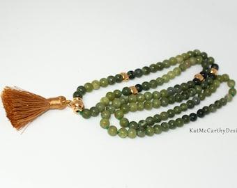 Dark green jade and gold 108 beaded Mala meditation necklace with gold silk tassel 6mm Tibetan jade beads