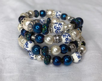 Beaded Memory Bracelet With Large Blue, White and Silver Beads - Layered Statement Bracelet