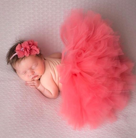 First Birthday Tutu Newborn Tutu Baby Tutu CORAL TUTU and headband set Cake Smash Infant Tutu,Newborn Props