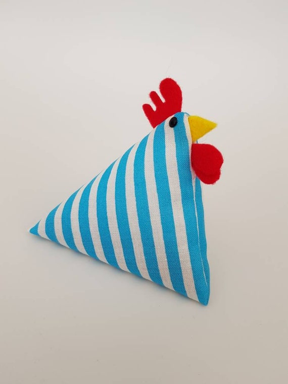 9cm x 9cm. A Hen and her chicks Handmade pin cushion