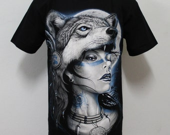 410cd985 Indian Girl Wolf T-shirt size M , L , XL , 2XL