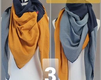XXL Muslin Women's Neck scarf Muslinscarf Tricolor Cotton Color Choice Colorblocking