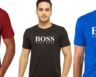 6b655154bc3 H BOSS Unisex Cotton O Neck Classic logo Printed T shirts Hugo tees  Birthday Fathers day Christmas tee top