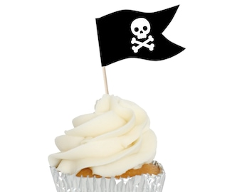 Pirate Flag Picks 50 Pack Skull Argh Cupcake Toppers Birthday Party Decoration