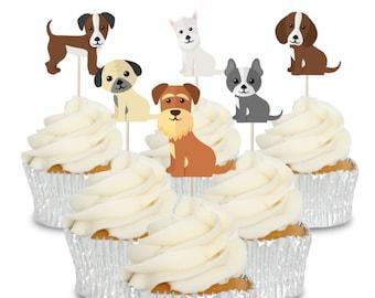Cupcake Toppers Bulldog Anglais Pré-Découpé Comestible Papier de riz gâteau 40 mm x 12 Chien