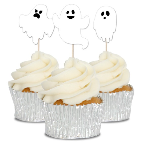 Halloween Picks Halloween Cupcake Topper Picks Ghost Decor for Kids Birthday Party Themed Party