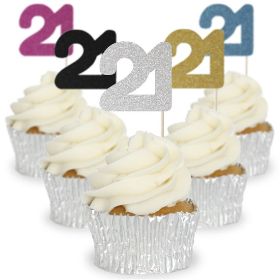 Glitter 18 Cupcake Toppers//Picks Birthday Party Pack of 12-10 Colours