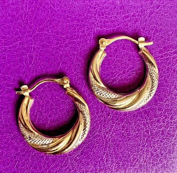 26mm 14k Gold Filled Two-Tone Greek Key Hoop Earrings