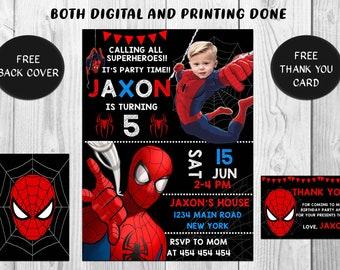 Spiderman Invitations Birthday Invitation Photo Invite Printable Free Thank You Card And Back Cover