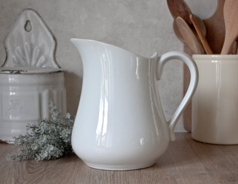Vintage French White Ironstone Pitcher image 2