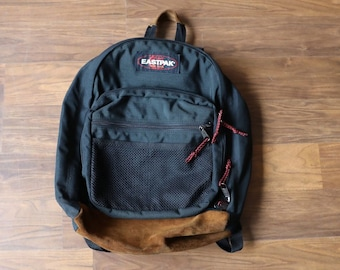 669f57776fa5 Vintage 90s Bottom Leather Eastpak Backpack Black
