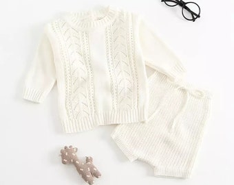 a155a8f1a82c New 2019 Autumn 1-3Yrs Baby Girls Clothing Set Knitted Boys Set Pullover  Sweaters Shorts 2 Pcs Kids Clothes Set Baby Girls Suits