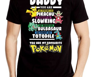 4a363d723 Daddy Pokemon Fathers Day Gift Cartoon Dad T shirt Novelty TV Movie
