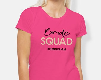 812eb8b179 Personalised Hen Party T-shirts, Bride Squad Theme Hen Night Tops,Bridal  T-shirts, Hen Night Party Tops, Bride To Be T-shirts, Bridal Party,
