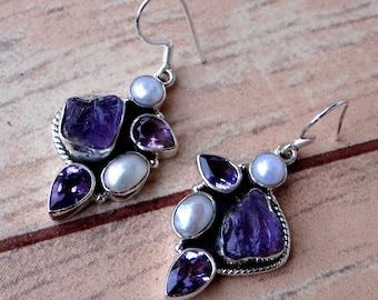 17b280d21 AMETHYST/Pearl/TANZANITE silver earring/925 sterling silver earring/handmade  earring/BLUE color earring/naturalgemstone earring/Dominican