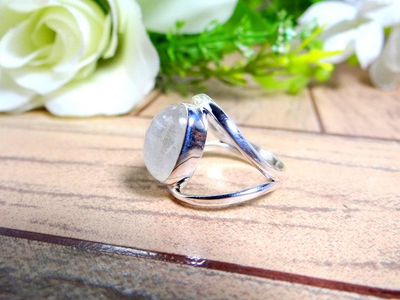 RAINBOW MOONSTONE 925 Silver RingWHITE color ringHandmade ringJune Birthstoneboho ringgift for herWedding ringGift For Girl.