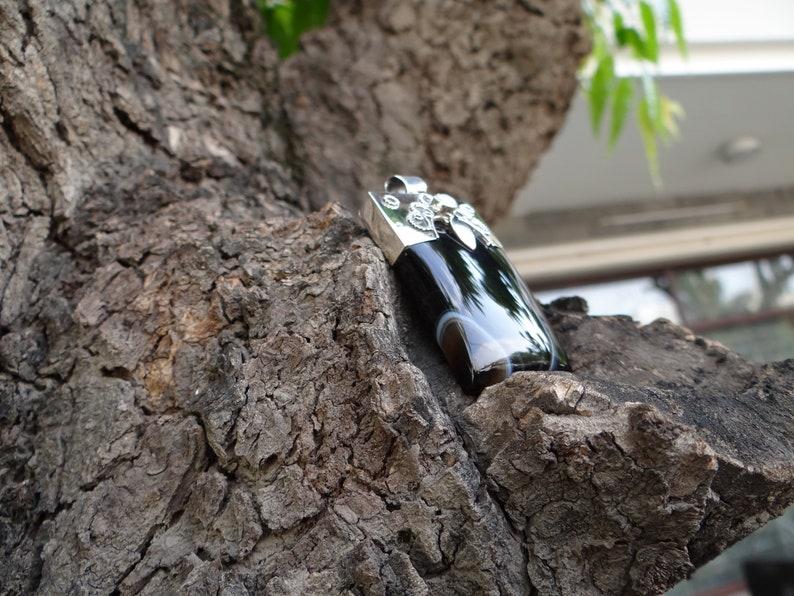 BLACK Agate Silver Pendant925 Silver PendantRectangle shape PendantHandmade PendantBeautiful PendantNATURAL Gemstone Pendant.