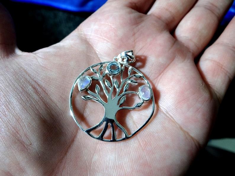 Blue TopazRainbow Moonstone silver pendant925 sterling silverhandmade pendantgift for herSILVER color pendantnatural gemstone pendant