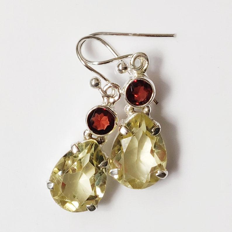 925 Sterling Silver Garnet /& Citrine Semi Precious Gemstone Earring Jewelry Free Shipping Solid Silver Fine Silver Handmade Jewelry