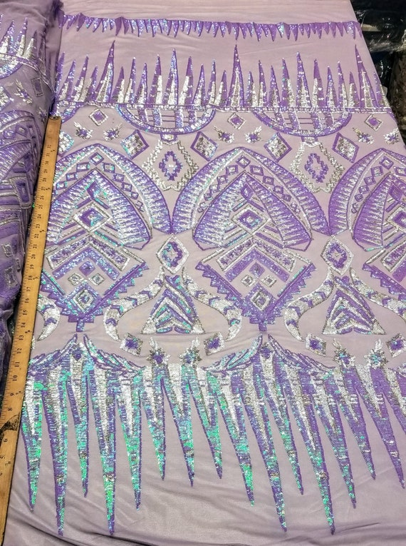 """Sequins Holograms Stretch Lace With Lycra Fabric 54/"""" Premium Fabric Lace"""