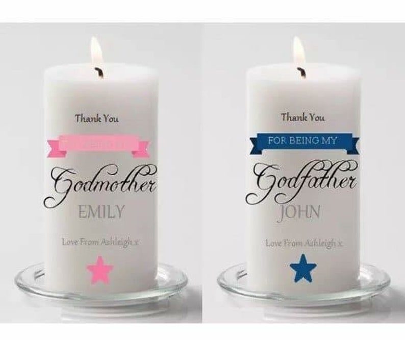 Personalised Christening Candles Baby Boy Bunting Candle Child Keepsake Gift