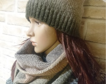 3bc88434376cc8 Hand knitted womens winter accessories, Knitted hat mittens and tube-scarf,  Knitted accessories, Womens knitted beanie