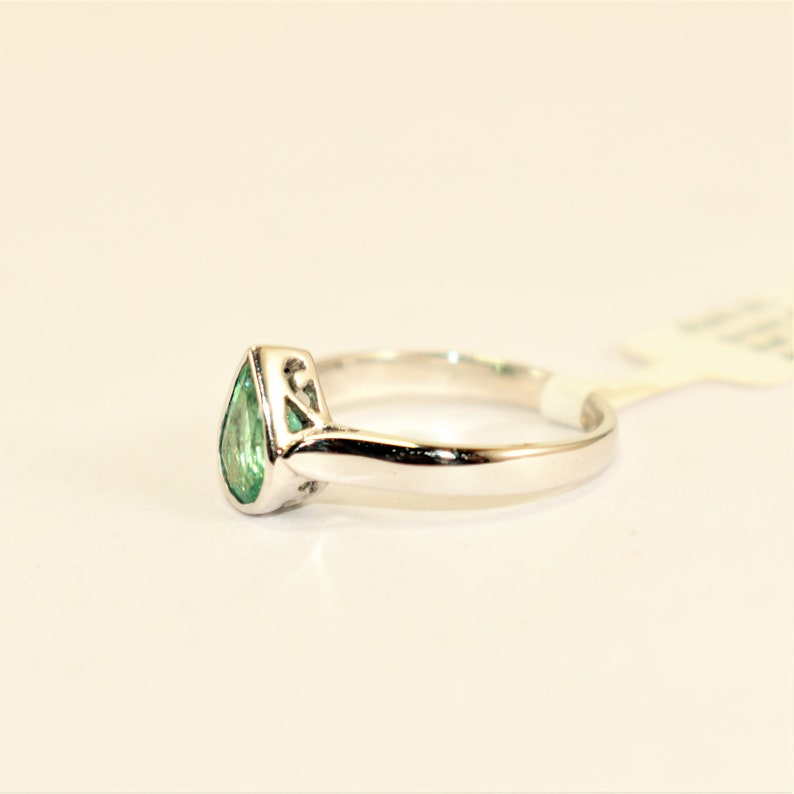 9K,14K Classic Drop Shape Emerald Silver White Gold Plated Ring Love Valentine 2021 Propose Handmade Design