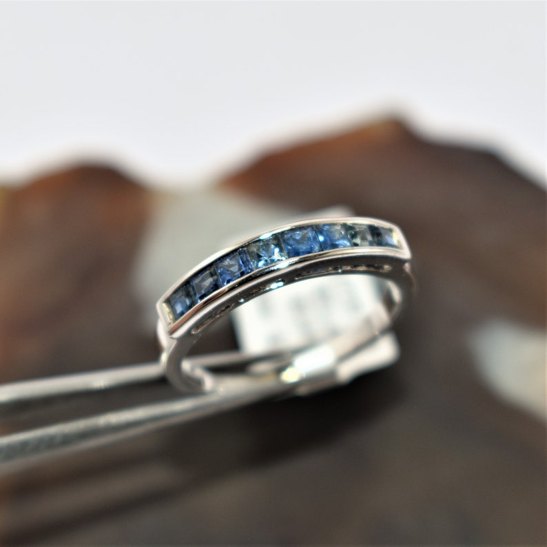 Gorgeous Half Band Sapphire or Ruby Silver White Gold Plated Ring Love Valentine 2021 Propose Handmade Attractive Sale All Sizes Available