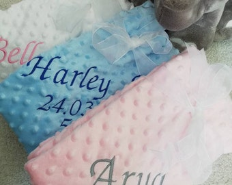 NEW PERSONALISE WITH BABYS NAME BLUE BABY FLEECE BLANKET BIRTH CHRISTMAS EASTER