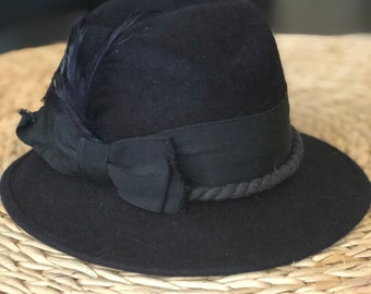 c2379ced59de4 Black Women s Fedora Black Feather Vintage European German Felt Wool