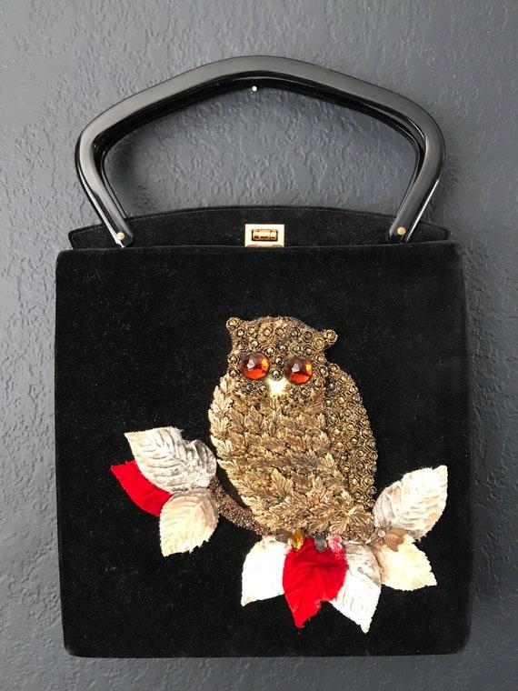 Jolles Original Purse 1950's Embellished Owl Black