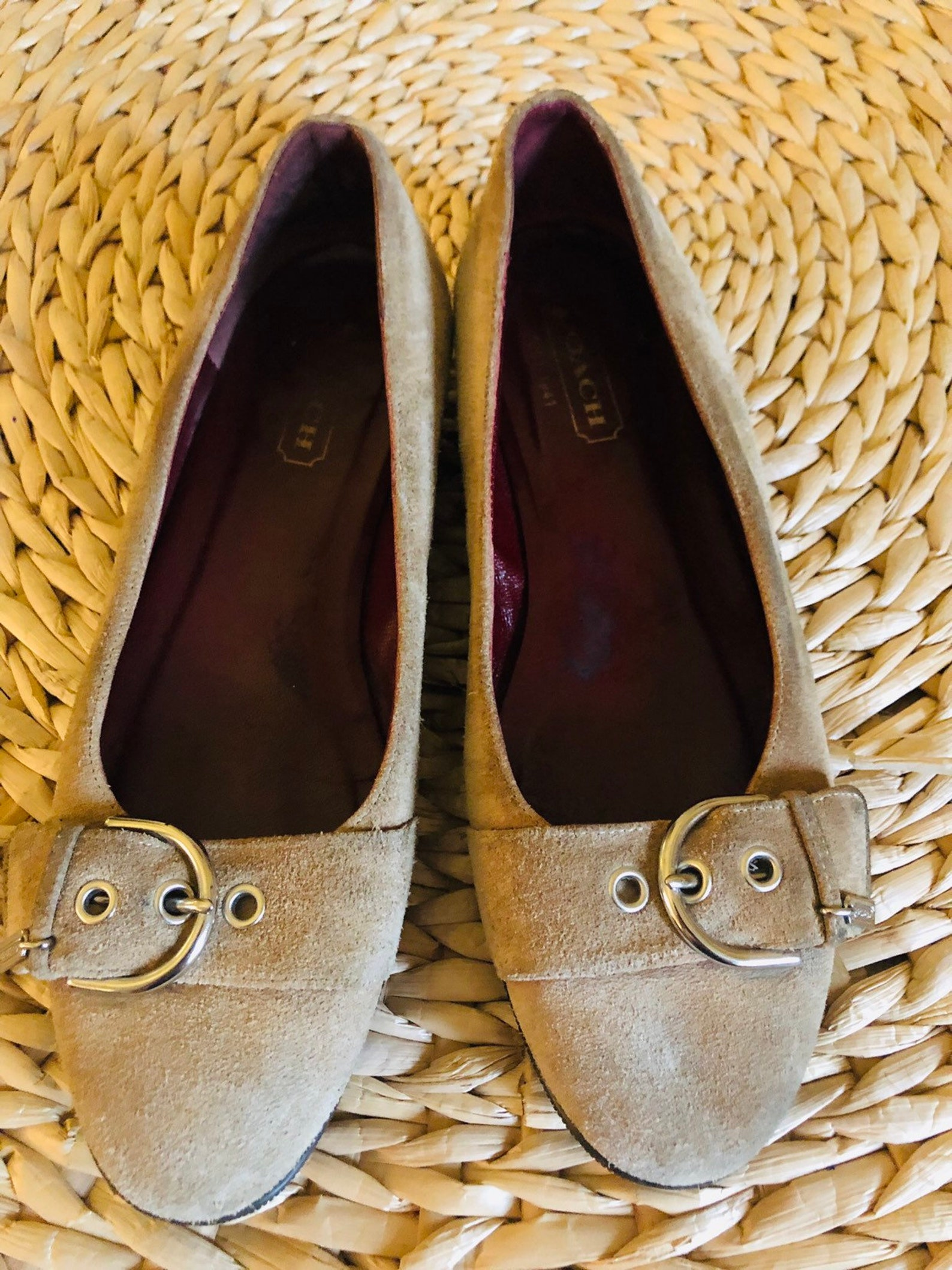 coach tan suede ballet flats made in itsly size 6.5