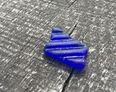 Rare cobalt blue striped sea glass Ribbed sea glass Pendant size quot 0.7 quot jewelry supplies, mosaic making, art, home decoartion (i9)