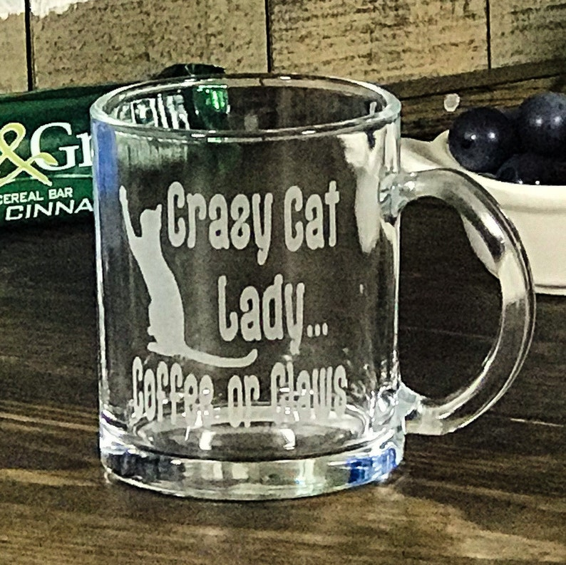 Cat Glassware Crazy Cat Lady Mug Engraved Personalized image 0