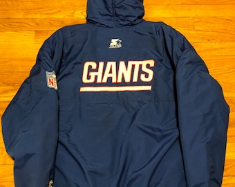a96ea0338 Vintage 80s Starter NFL New York Giants Puffer Hooded Jacket rare football  Super Bowl