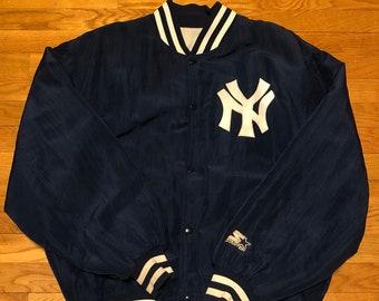 Vintage anni   90 Starter MLB New York Yankees Logo Navy raso Bomber Jacket  collezione Diamond dd38f47d4d80