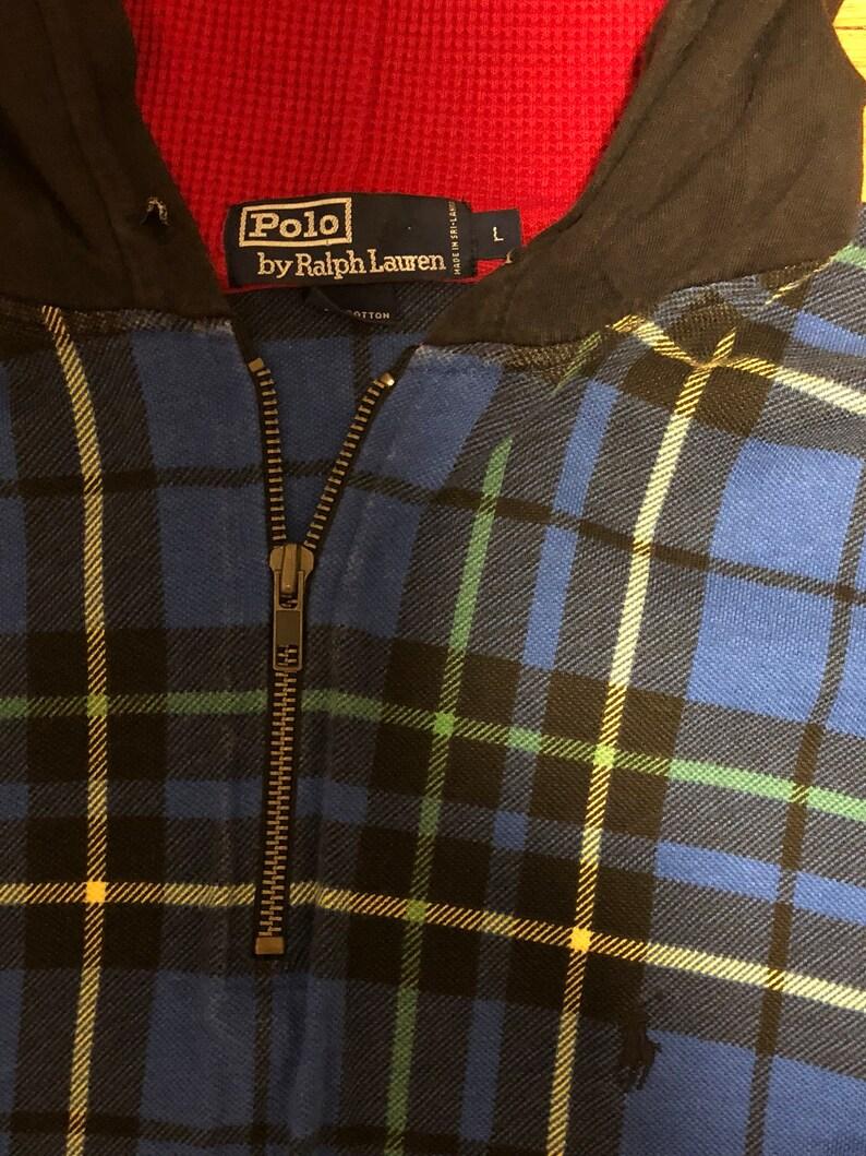 d984a8cda Vintage 90s Polo Ralph Lauren Plaid 1 4 Quarter Zip Hoodie
