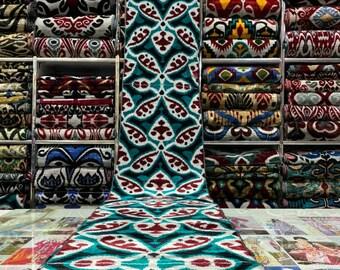 Tangerine Handmade Velvet Ikat Fabric SKU 16V170 Handwoven Bold Black Uzbek Silk Ikat Fabric