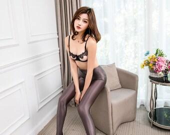9d782ea57 Leohex glossy tights Glosend Transparent Sexy Shiny Wetlook Nylon Spandex