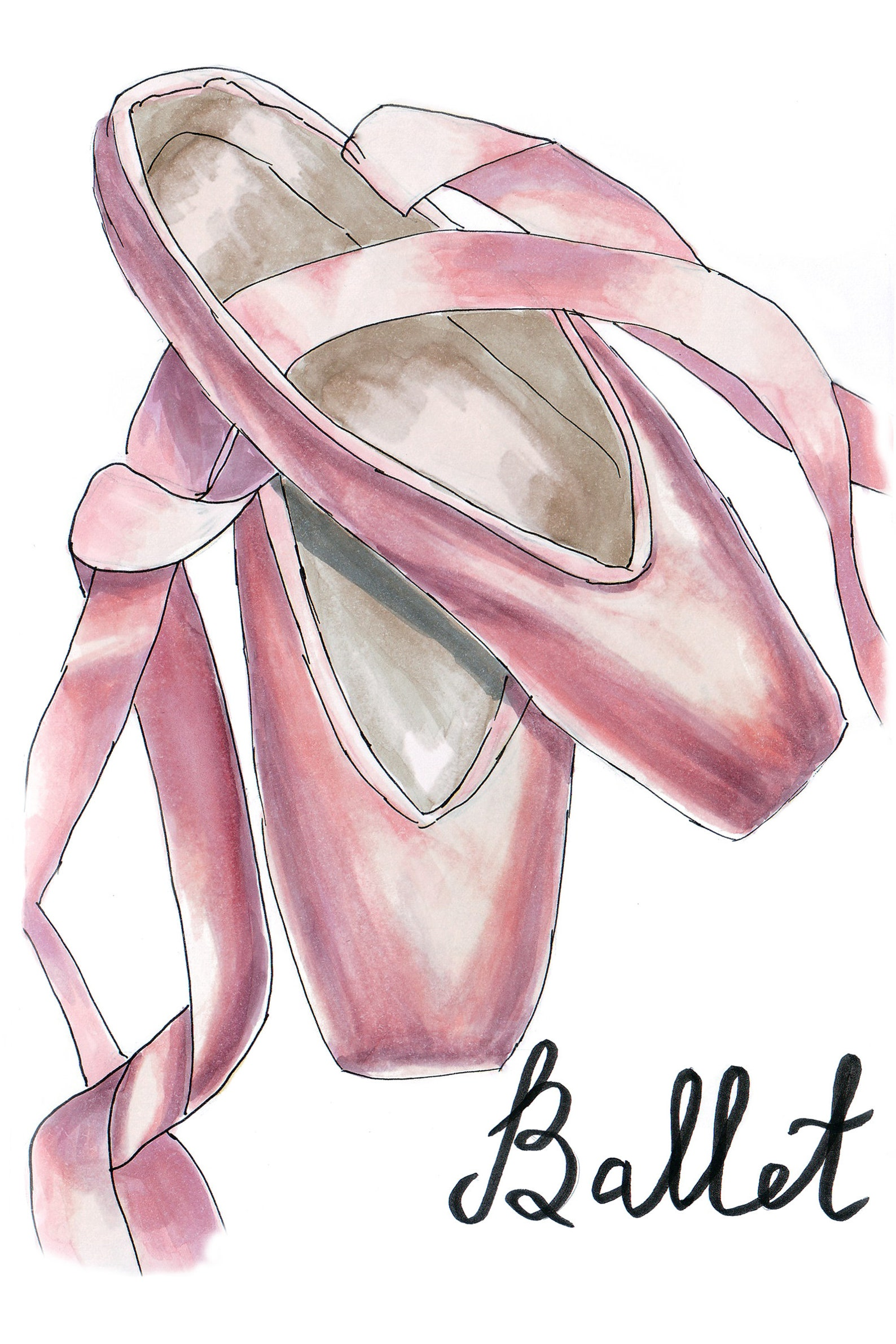 pointe shoes, ballet shoes illustration, ballet, ballerina print, ballet shoes, digital download, girls room decor, balerina dan