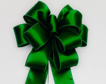 Wedding, Christmas Bow, Wreath Bow, Satin, Emerald Green