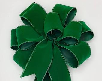 Christmas Bow, Wreath Bow, Emerald Green Velvet