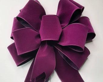 Christmas Bow, Wreath Bow, Purple Velvet