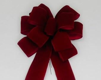 Christmas Bow, Wreath Bow, Burgundy Velvet, Outdoor Velvet