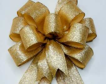 Metallic Gold Glitter Bow,  Wreath Bow, Christmas Bow