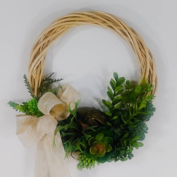 Willow Vine Succulent Wreath with Taupe Bow