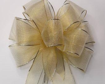 Christmas Bow, Wreath Bow, Gold, Metallic, Mesh
