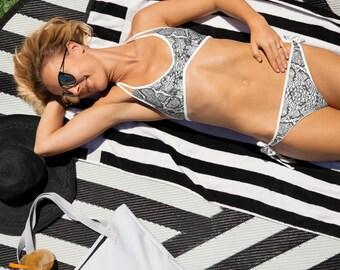 6bdc36acb17 Snakeskin Bikini // String Bikini // Micro Bikini // Brazilian Bikini //  Swimming Costume // Swimwear // Beach Bikini