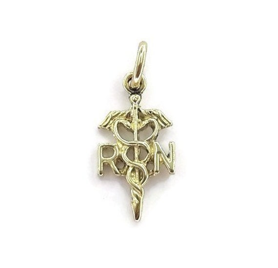 14k Yellow Gold NP Nurse Practitioner Pendant Charm Made in USA