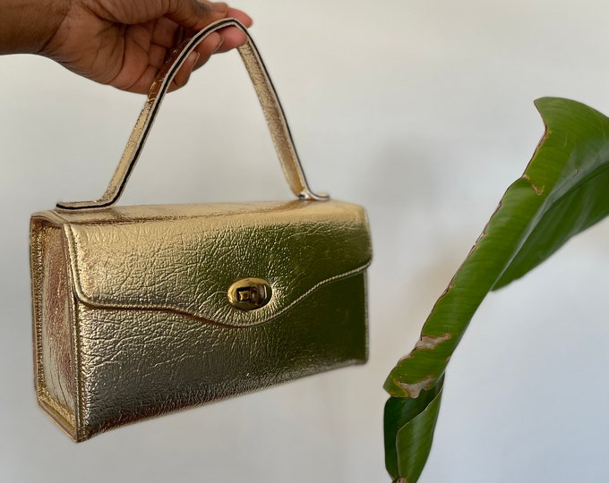 Featured listing image: Vtg 60s Gold Evening Mini Bag | Bridal Hand Purse | Disco Handbag | Top Handle | Wedding | Party | Gold Accent Clasp | Winter